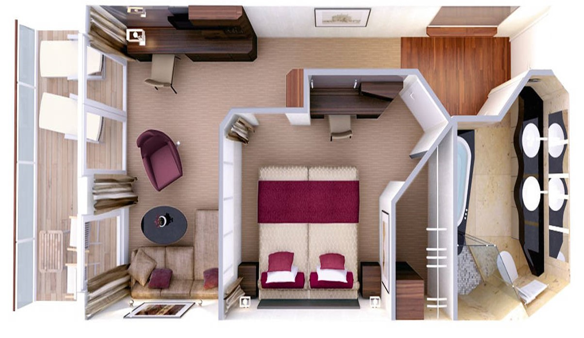 Hapag Lloyd Grundriss Penthouse Deluxe Suite MS Europa